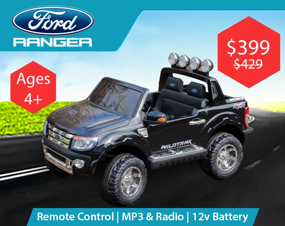 Licensed Ford Ranger (Black) – Ride on Cars