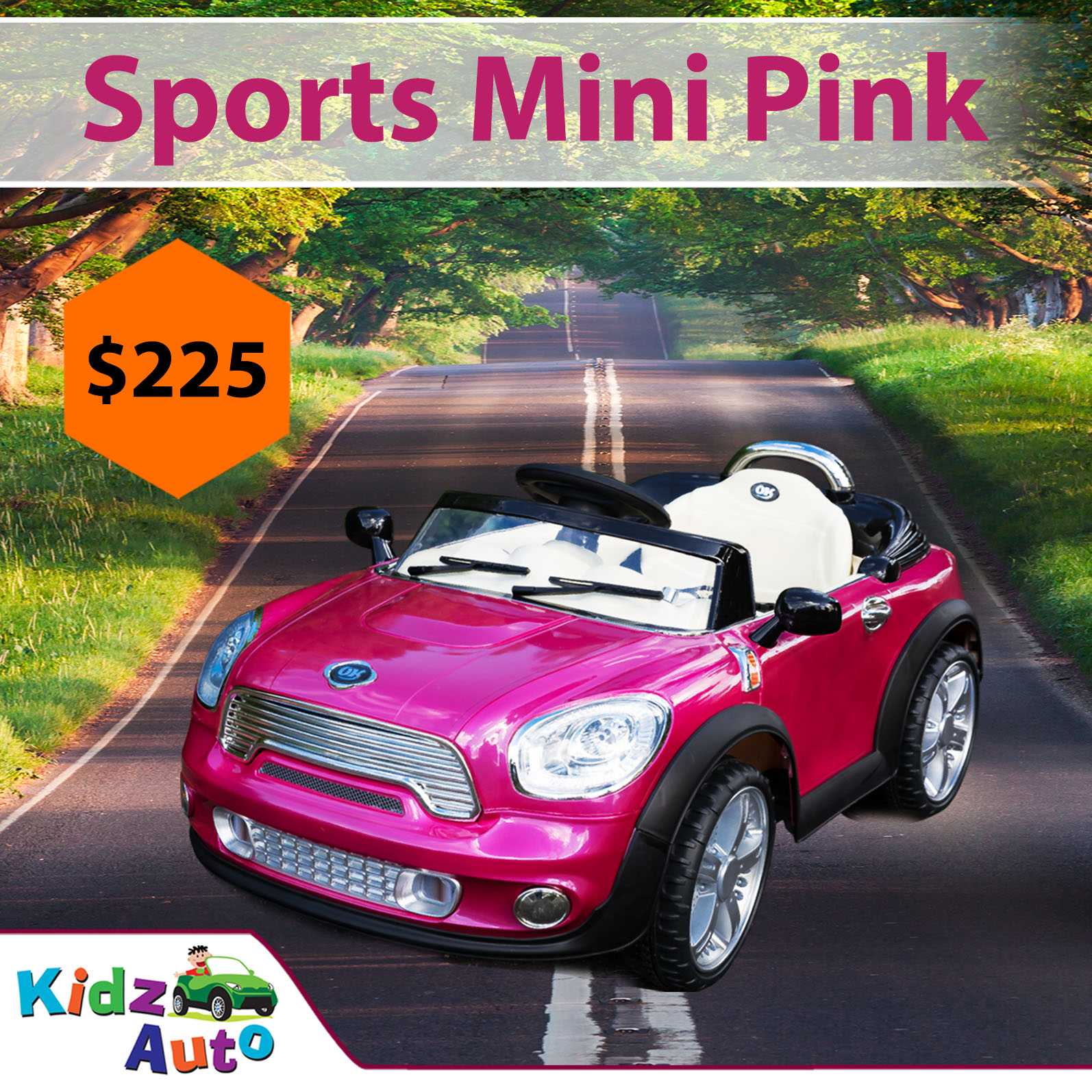 Pink Sports Mini Electric Ride on Toy Cars for Kids