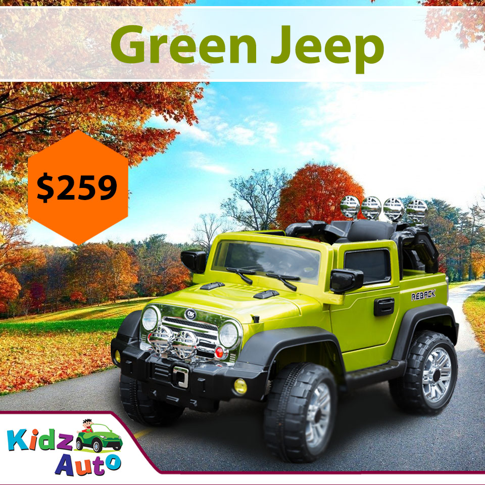 Electric Kids Cars >> Jeep Green Electric Ride On Toy Cars For Kids Australia
