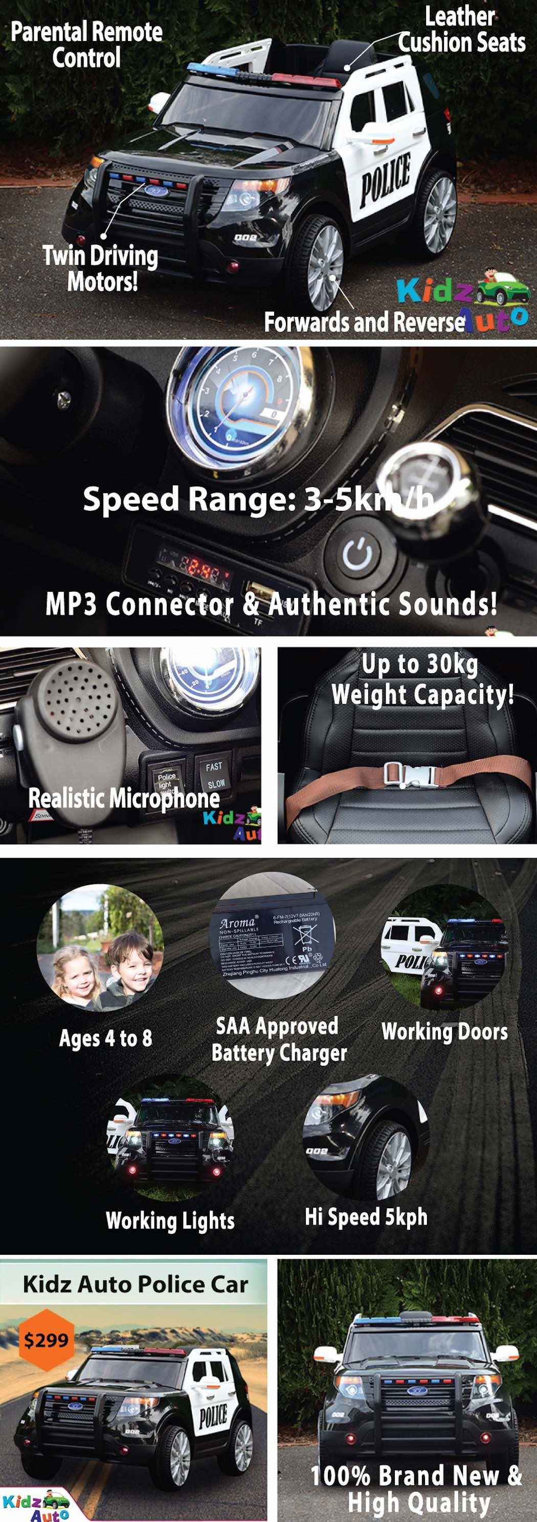 Kidz Auto Police Car - Product Specs